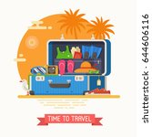 summer suitcase full of...   Shutterstock .eps vector #644606116