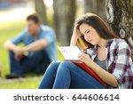 single sad student looking at... | Shutterstock . vector #644606614