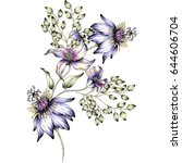 watercolor flower illustration | Shutterstock . vector #644606704