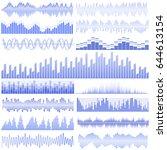 vector set of blue sound waves. ... | Shutterstock .eps vector #644613154
