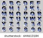 alphabet fire flame blue | Shutterstock .eps vector #644613184