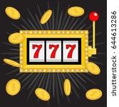slot machine. golden glowing... | Shutterstock .eps vector #644613286