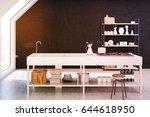 interior of an attic kitchen... | Shutterstock . vector #644618950