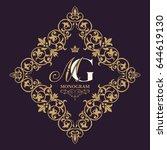 gold decorative frame. vector...   Shutterstock .eps vector #644619130