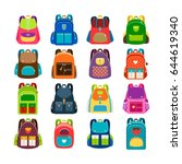 kids schoolbag set isolated on... | Shutterstock .eps vector #644619340
