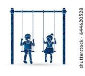 happy children  little boy and... | Shutterstock .eps vector #644620528