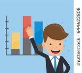 businessman present and graphs... | Shutterstock .eps vector #644622808