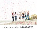 group of young people... | Shutterstock . vector #644626993