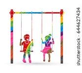 happy children  little boy and... | Shutterstock .eps vector #644627434