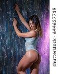 beautiful sexy girl fitness in... | Shutterstock . vector #644627719