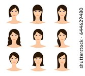 female avatar set  woman faces... | Shutterstock .eps vector #644629480