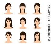 female avatar set  woman faces... | Shutterstock .eps vector #644629480