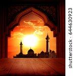 islamic greeting eid mubarak... | Shutterstock . vector #644630923