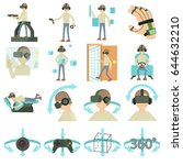 virtual reality icons set.... | Shutterstock .eps vector #644632210