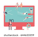 men and women are swimming and... | Shutterstock .eps vector #644633359