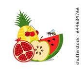 bright still life of juicy... | Shutterstock .eps vector #644634766
