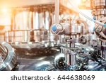 steel pipes and stop valves on... | Shutterstock . vector #644638069