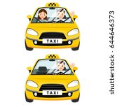 yellow taxi car and taxi driver ... | Shutterstock .eps vector #644646373