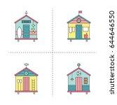 beach hut vector thin line...   Shutterstock .eps vector #644646550