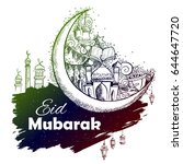 illustration of eid mubarak ... | Shutterstock .eps vector #644647720