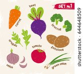 vegetables  drawn by hand in a... | Shutterstock .eps vector #644648509