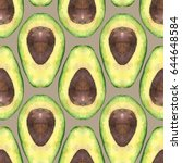 avocado pattern seamless... | Shutterstock . vector #644648584