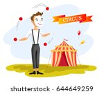happy circus clown. cartoon... | Shutterstock .eps vector #644649259