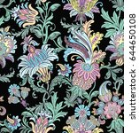 seamless pattern with floral... | Shutterstock .eps vector #644650108