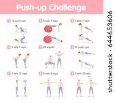 push up challenge. | Shutterstock .eps vector #644653606