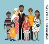 mixed race family with 5... | Shutterstock .eps vector #644654548