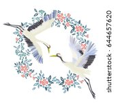the crane embroidery   vector... | Shutterstock .eps vector #644657620