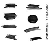 set of black paint  ink brush... | Shutterstock .eps vector #644660080