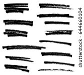 set of black paint  ink brush... | Shutterstock .eps vector #644660104