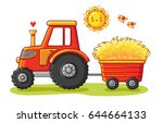 tractor with a cart. the... | Shutterstock .eps vector #644664133