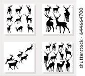 deer silhouette  vector... | Shutterstock .eps vector #644664700