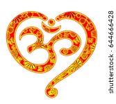 om mantra heart  yoga  buddhism ...   Shutterstock . vector #644666428