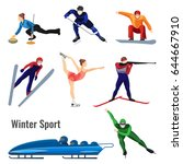 set of winter sport activities... | Shutterstock .eps vector #644667910