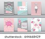 set of birthday card on retro...   Shutterstock .eps vector #644668429
