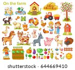 Stock vector farm set with animals pets livestock and vegetables on a white background young farmers and 644669410