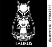 zodiac sign taurus. fantastic... | Shutterstock .eps vector #644669944