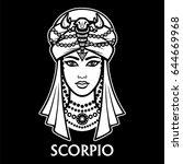 zodiac sign scorpio. fantastic... | Shutterstock .eps vector #644669968
