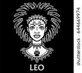 zodiac sign leo. fantastic... | Shutterstock .eps vector #644669974