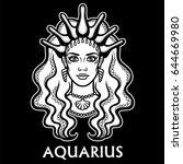 zodiac sign aquarius. fantastic ... | Shutterstock .eps vector #644669980
