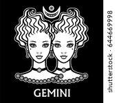 zodiac sign gemini. fantastic... | Shutterstock .eps vector #644669998
