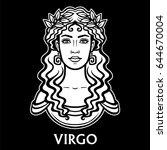 zodiac sign virgo. fantastic... | Shutterstock .eps vector #644670004