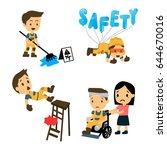 set of construction worker ... | Shutterstock .eps vector #644670016