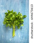 a bunch of green parsley  | Shutterstock . vector #644673613