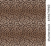 leopard seamless pattern with... | Shutterstock . vector #644674960