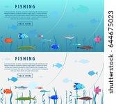 fishing banner. fishing concept.... | Shutterstock .eps vector #644675023