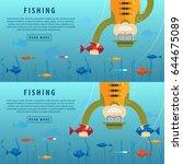 fishing banner. fishing concept.... | Shutterstock .eps vector #644675089